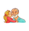 kid girl kisses her grandfather on cheek isolated vector image