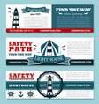 lighthouse banners for safety seafaring vector image