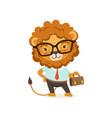 lion cartoon character wearing vector image vector image