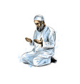 muslim man praying hand drawn sketch on white vector image vector image
