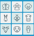 nature icons set with dog bee paw and other vector image