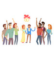 newlyweds and their friends on festive ceremony vector image