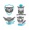 owl shield education technology logo design vector image