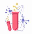 pink flasks with connected chemical atoms on white vector image vector image