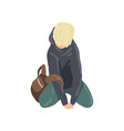 sad teen boy sitting on floor depressed lonely vector image vector image