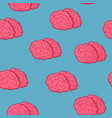 seamless pattern pink brain on blue background vector image