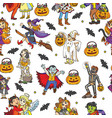 seamless pattern with characters and halloween vector image vector image