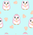 seamless pattern with penguins in pastel colors vector image vector image