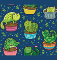 Seamless pattern with succulents and