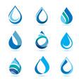 set abstract blue water drops symbols logo vector image vector image
