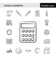 set of 17 school elements hand-drawn icon set vector image vector image
