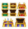 set of closed and opened colored chests isolated vector image