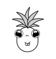 silhouette kawaii cute shy pineapple vegetable vector image vector image