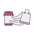 smartphone with tent and shopping bag coming out vector image vector image