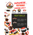 sushi menu banner template of japanese restaurant vector image vector image