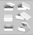 white empty square open box in different positions vector image vector image