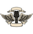 winged guitar with ribbons isolated on white vector image vector image
