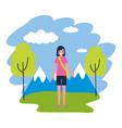 woman travel nature mountains landscape vector image