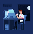 work late concept man at night in office with vector image