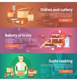 Food and kitchen banners set vector image