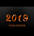 2019 orange new year sign with glitter and vector image