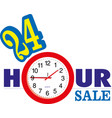 24 hour sale banner with clock vector image vector image