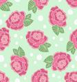 Rose seamless pattern on a polka-dot background