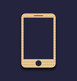 Abstract carton paper mobile phone with shadow vector image