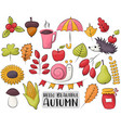 autumn season icons set colorful hand drawn fall vector image