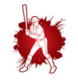 baseball player action cartoon sport graphic vector image vector image