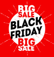 Black friday sale banner on red background vector image vector image