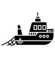 boat fishing icon black sign vector image vector image