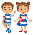 boy and girl wearing shirt with cuba flag vector image vector image