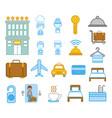 bundle hotel service icons vector image vector image