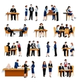 Business lunch pause flat icons collection vector image vector image