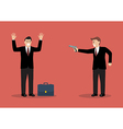 businessman hold a handgun robs a businessman vector image