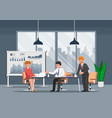 businessman working and in the open space office vector image vector image