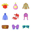 buying spree icons set cartoon style vector image