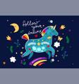 card with a unicorn and a rainbow vector image