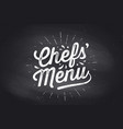 chefs menu cutting board lettering wall decor vector image vector image