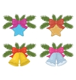 christmas decorations set vector image vector image