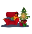 Christmas interior with an elegant red sofa vector image vector image