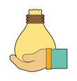 cloth bag to save things in the hand vector image vector image