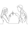 continuous line drawing man and woman quarreling vector image vector image