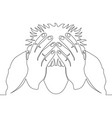 continuous line drawing man in depression vector image