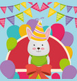 cute and little bunny with balloons helium vector image