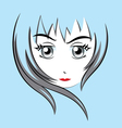 Cute face woman vector image