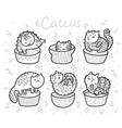 cute succulent or cactus plant in the form of cats vector image vector image