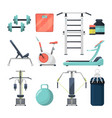 different fitness items for gym of vector image vector image