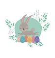 easter background with cute bunny and easter eggs vector image vector image